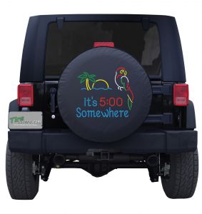Perched Parrot It's 5 O' Clock Somewhere Custom Tire Cover