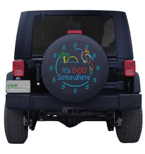 Perched Parrot Neon 5 O' Clock Custom Tire Cover
