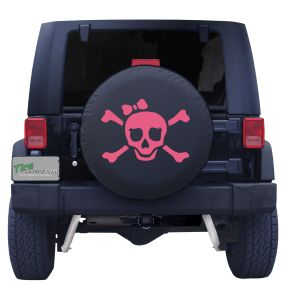 Pink Pirate Girl Spare Tire Cover on Black Vinyl Front