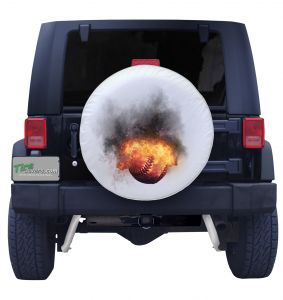 Blazing Fireball Ptich  Baseball Spare Tire Cover on White  Vinyl Front