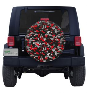 Red Digital Camouflage Tire Cover Jeep Wrangler