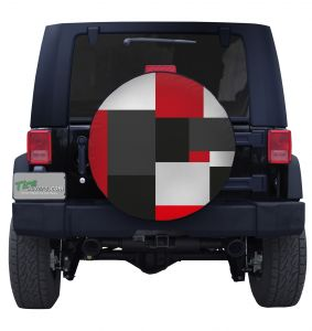 Large Red Block Camouflage Tire Cover Jeep Wrangler
