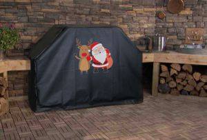 Santa and Rudolph Custom Grill Cover