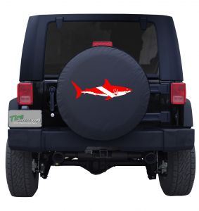 Shark Diving Flag Tire Cover Shark Week