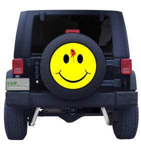 Smiley Face Bullet Hole Tire Cover