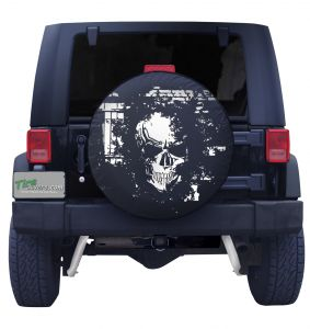 Skeleton Skull Brick Wall Spare Tire Cover Front View