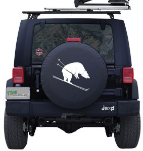 Skiing Bear Custom Tire Cover Jeep Wrangler