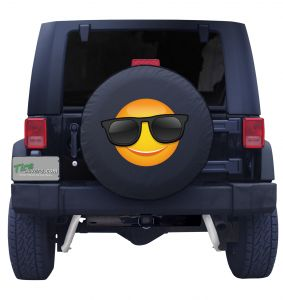 Smiley Face with Sunglasses Tire Cover Front