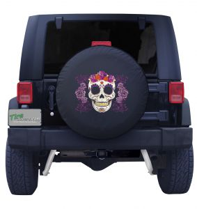 Colored Sugar Skull Spare Tire Cover Front View