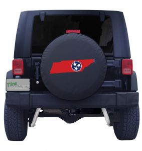 Tennessee State Outline Flag Tire Cover