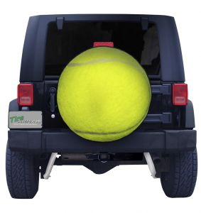 Tennis Ball Spare Tire Cover on Black Vinyl Front