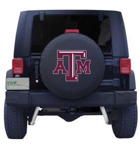 Texas A&M University Spare Tire Cover Black Vinyl Front