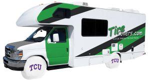 Texas Christian University RV Tire Shade Cover White Vinyl Front
