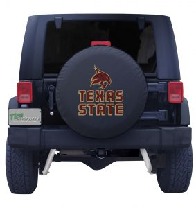 Texas State University Spare Tire Cover Black Vinyl Front