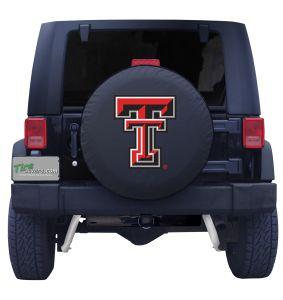 Texas Tech University Spare Tire Cover Black Vinyl Front