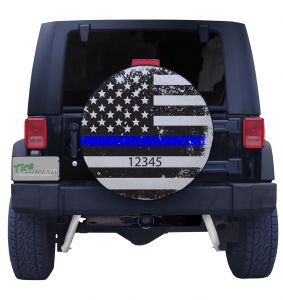 Thin Blue Line Distressed Flag with Custom Text Tire Cover on Black Vinyl