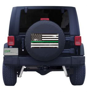 Back the Green Line Distressed American Flag Tire Cover