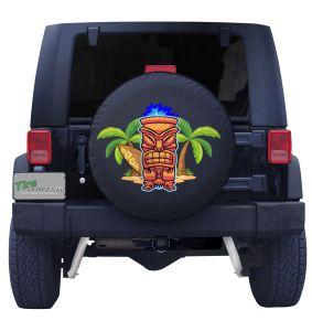 Tiki Islander Surfer Tire Cover