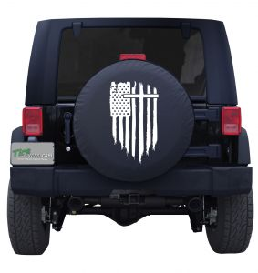 Holy Cross Torn American Flag Tire Cover