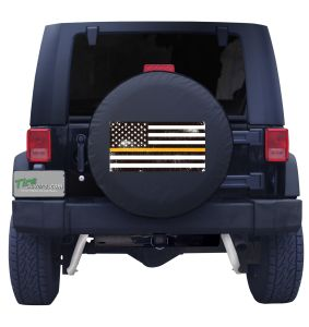 Thin Yellow Line Distressed American Flag Tire Cover