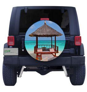Tropical Beach Cabana Tire Cover