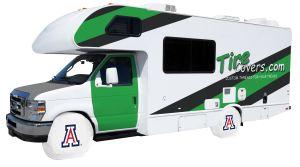 University of Arizona White Vinyl RV Tire Shade Cover Front