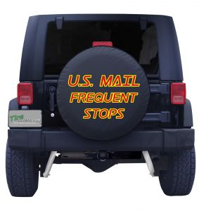 U.S. Mail Frequent Stops Red & Yellow Tire Cover