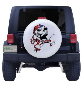USA Pirate Spare Tire Cover on White Vinyl Front