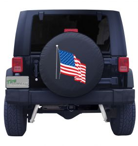 Waving USA Flag Tire Cover on Black Vinyl Front