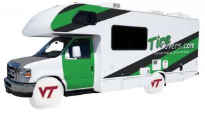 Virginia Tech RV Tire Shade Cover White Vinyl Front
