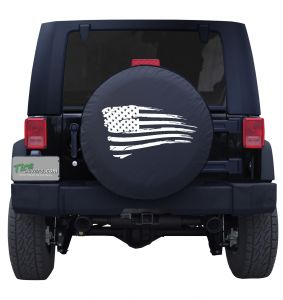 Waving Distressed American Flag Custom Tire Cover