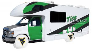 West Virginia University Logo RV Tire Shade Cover White Vinyl Front
