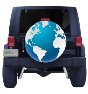 World Globe Custom Tire Cover Front