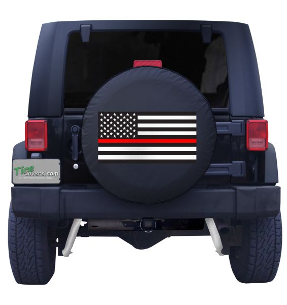 AA WIU American Unlimited Spare Tire Cover Thin Blue Red Line Brotherhood Flag Firefighte Tire Protectors Tire Covers Fits for Jeep,Trailers,RVs,SUVs,Trucks and Many Vehicles.