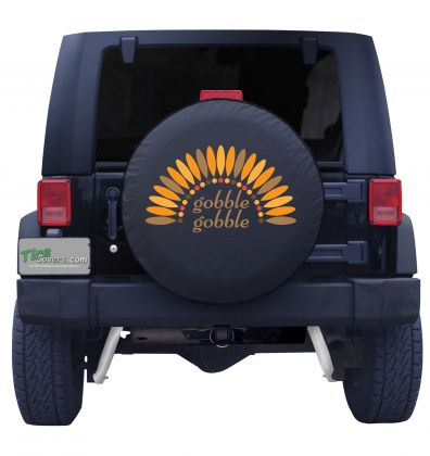 Gobble Gobble Feathers Tire Cover