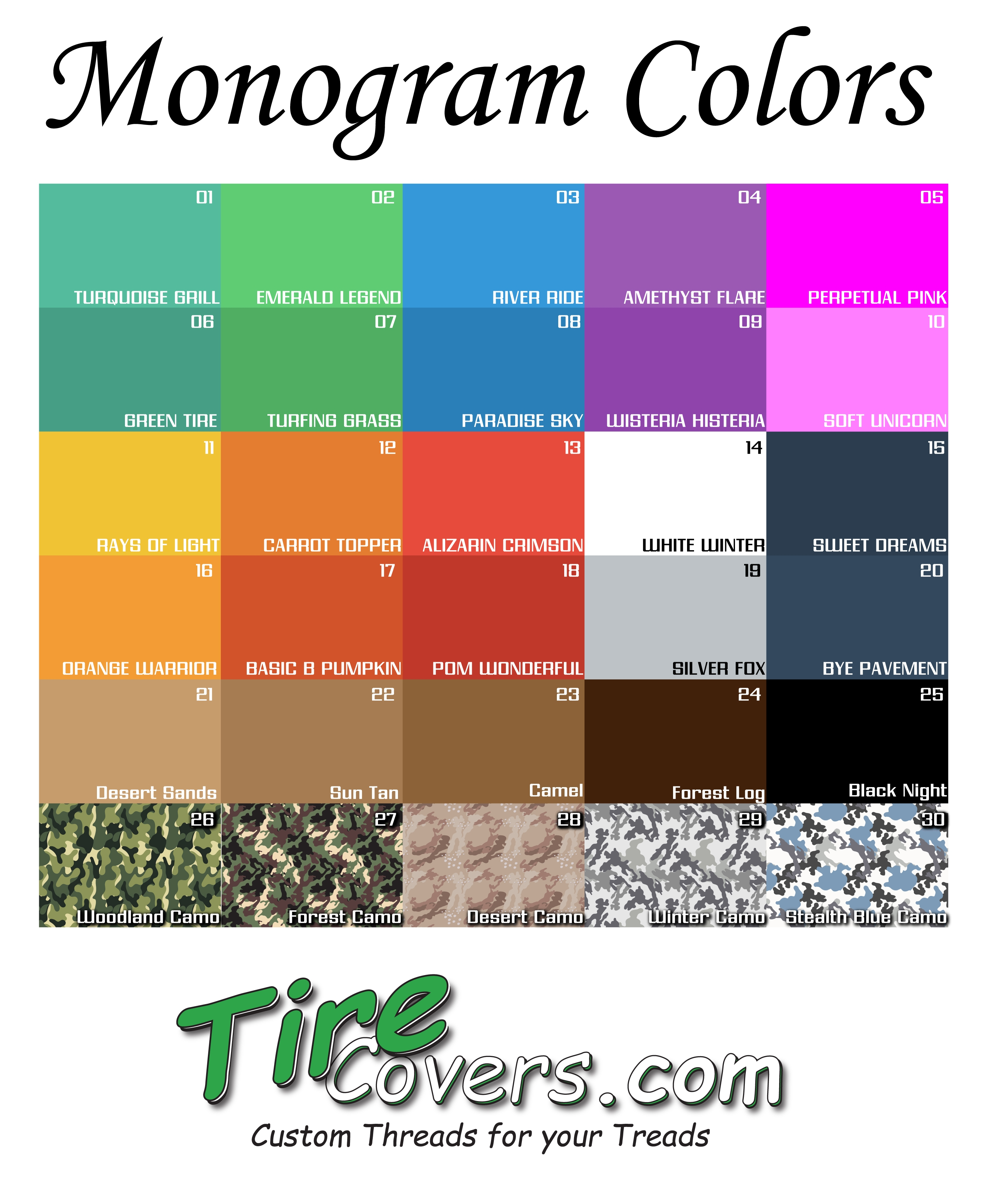 Monogram Color Chart for Tire Covers